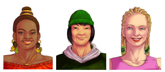 Character avatars for mobile game.