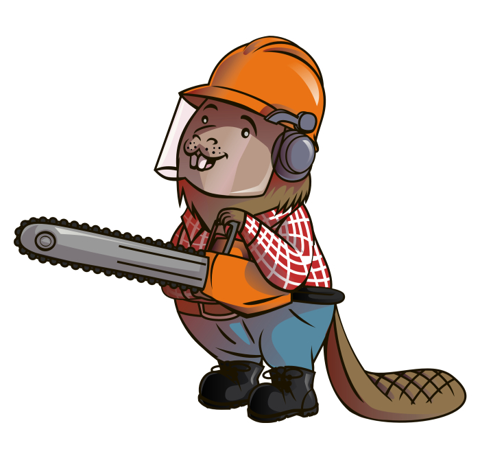 Mascot for wood log supply company.