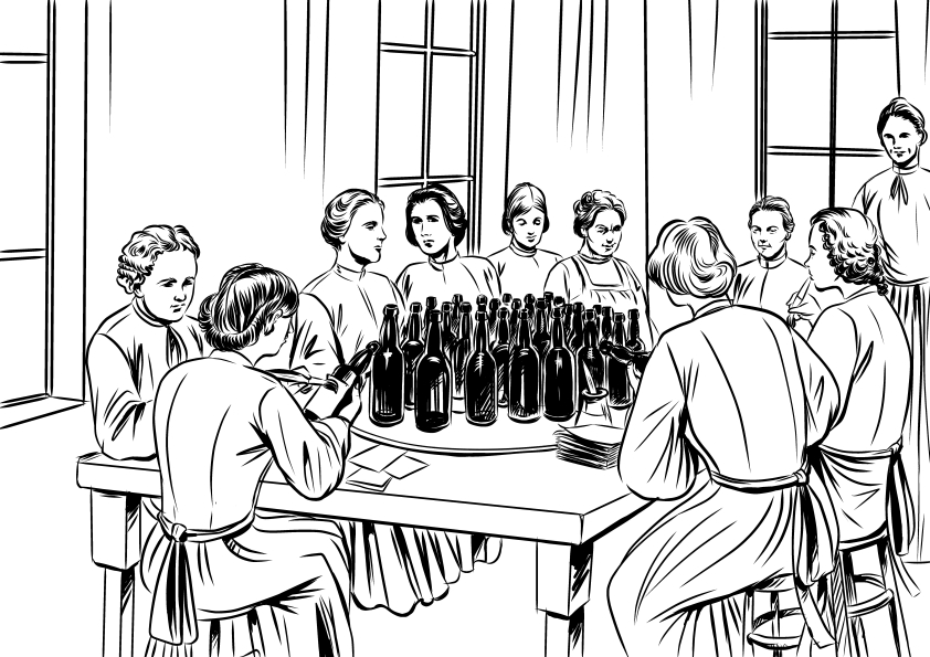 Historical illustration for a bottling plant's story